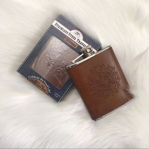 Stainless Steel Tooled Leather Western Flask 6oz